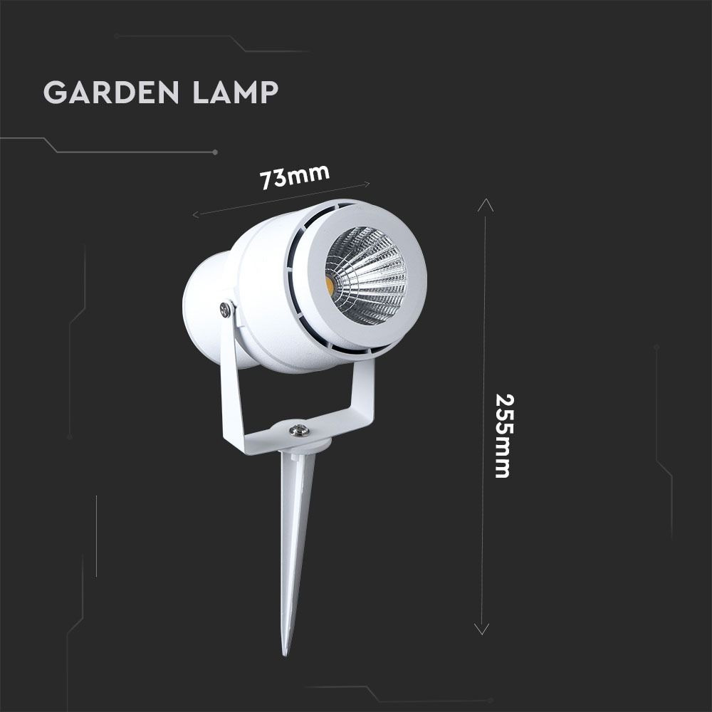 Lampa LED Gradina cu Tepusa 12W, Corp Alb, Lumina Verde