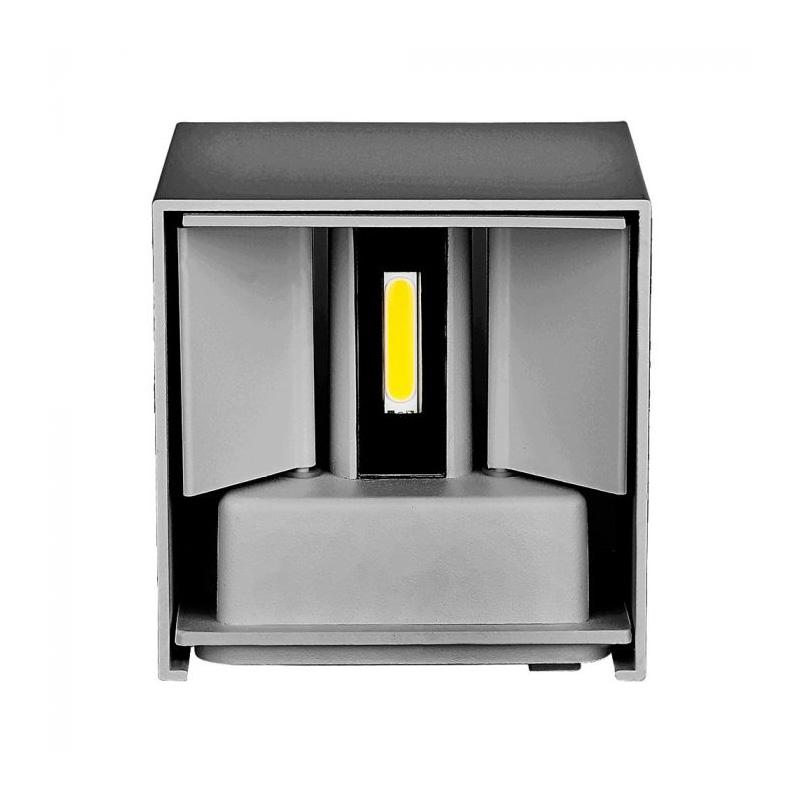 Lampa LED 12W de Perete, Corp Gri Patrat cu Cip Bridgelux, Lumina Naturala (4000K)
