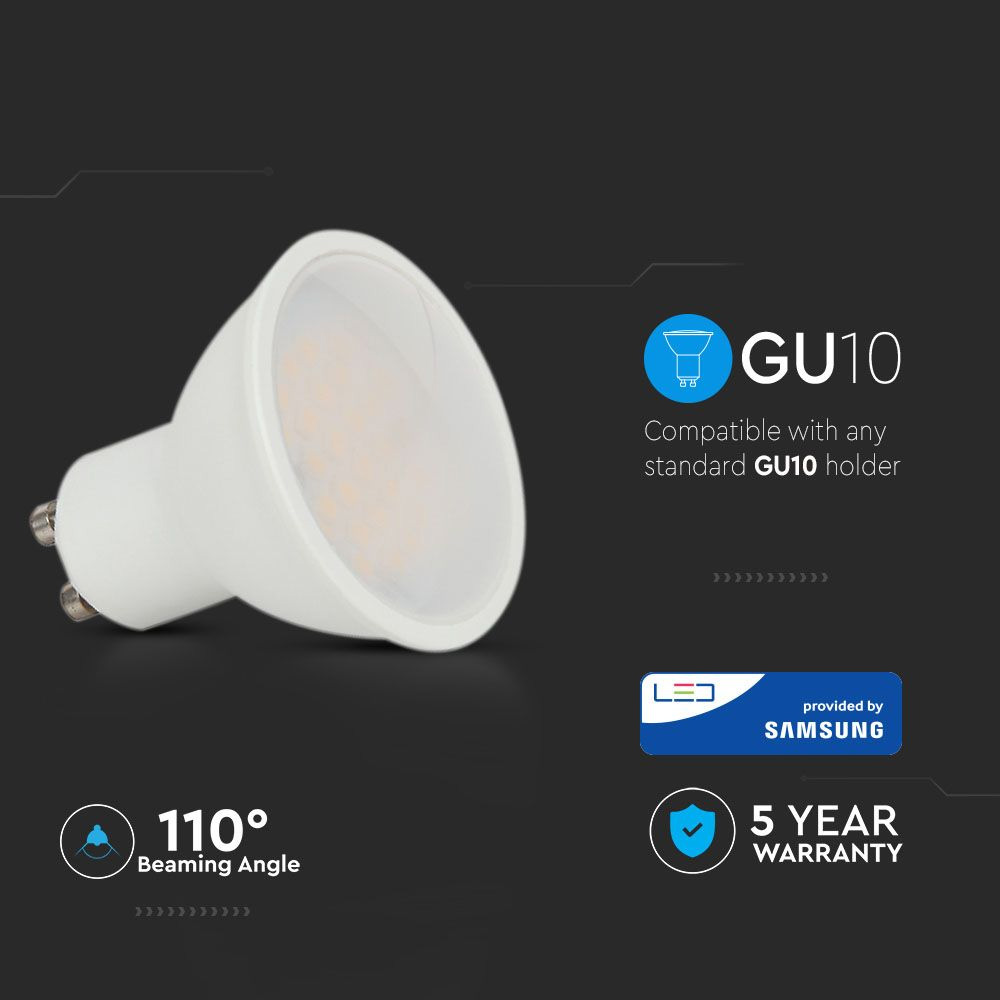 Spot LED GU10, 10W, Dispersor Mat, Plastic, Lumina Rece 6400K Cip SAMSUNG