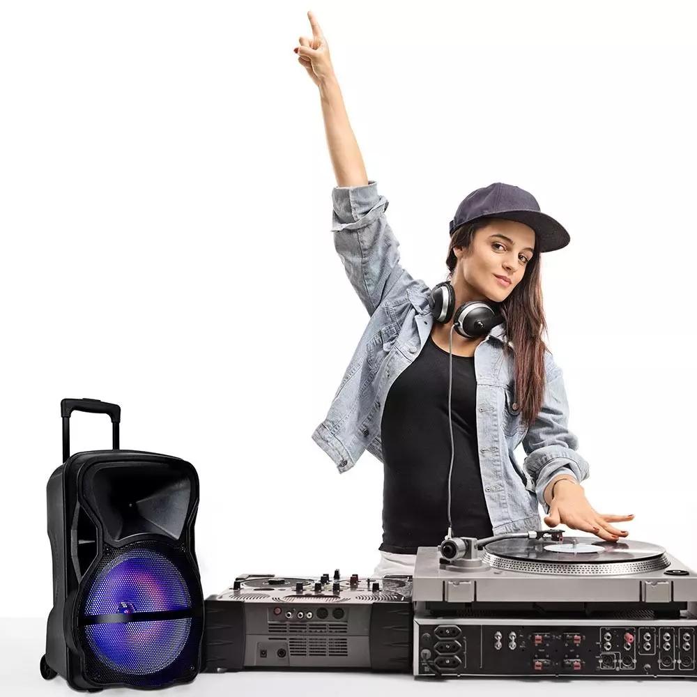 Boxa Portabila Reincarcabila 50W, Microfon cu Fir+Microfon fara Fir, Control RF RGB, 15 inch