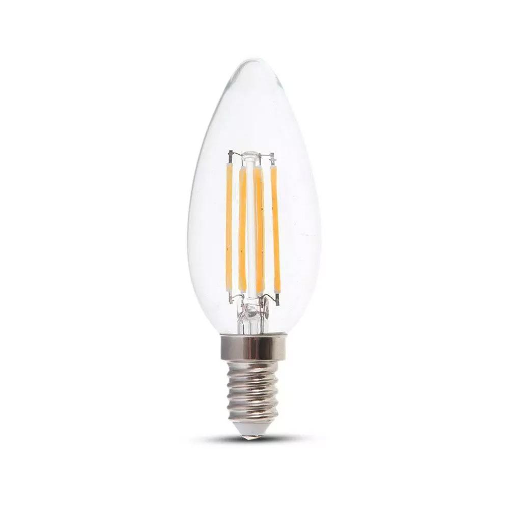 Bec LED Lumanare 4W Filament, E14, Sticla Clara, Lumina Calda 2700K, 2buc/Blister