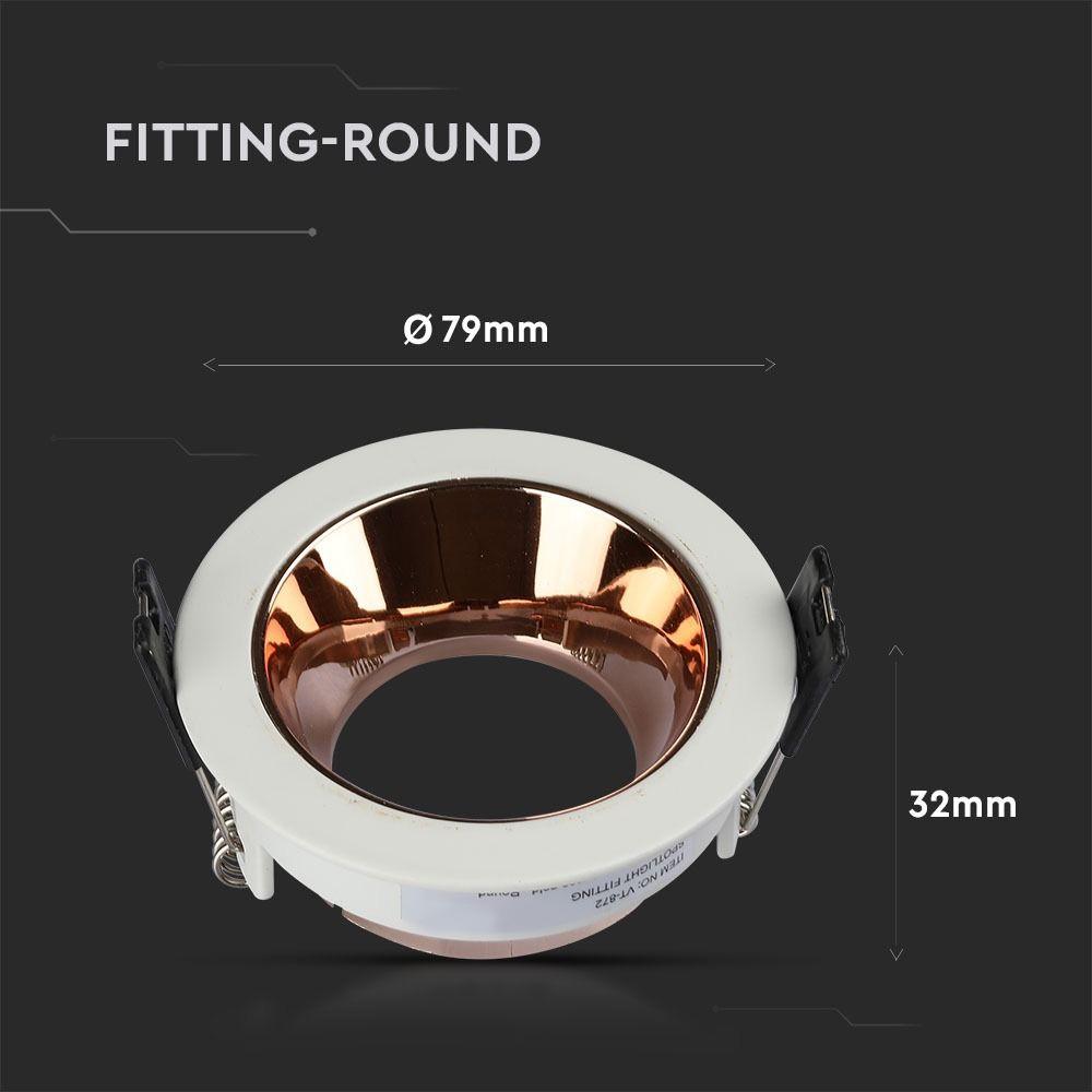 Rama Rotunda pentru GU10 cu Margine Alba si Interior Rosu Gold