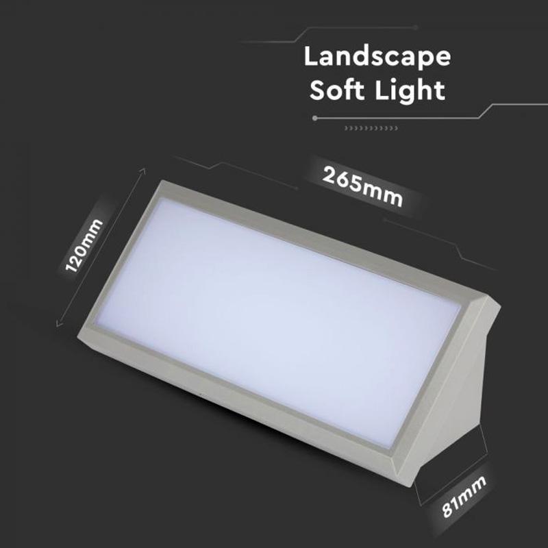 Lampa LED de Exterior cu Lumina Difuza 12W, Corp Gri, Lumina Naturala(4000K)