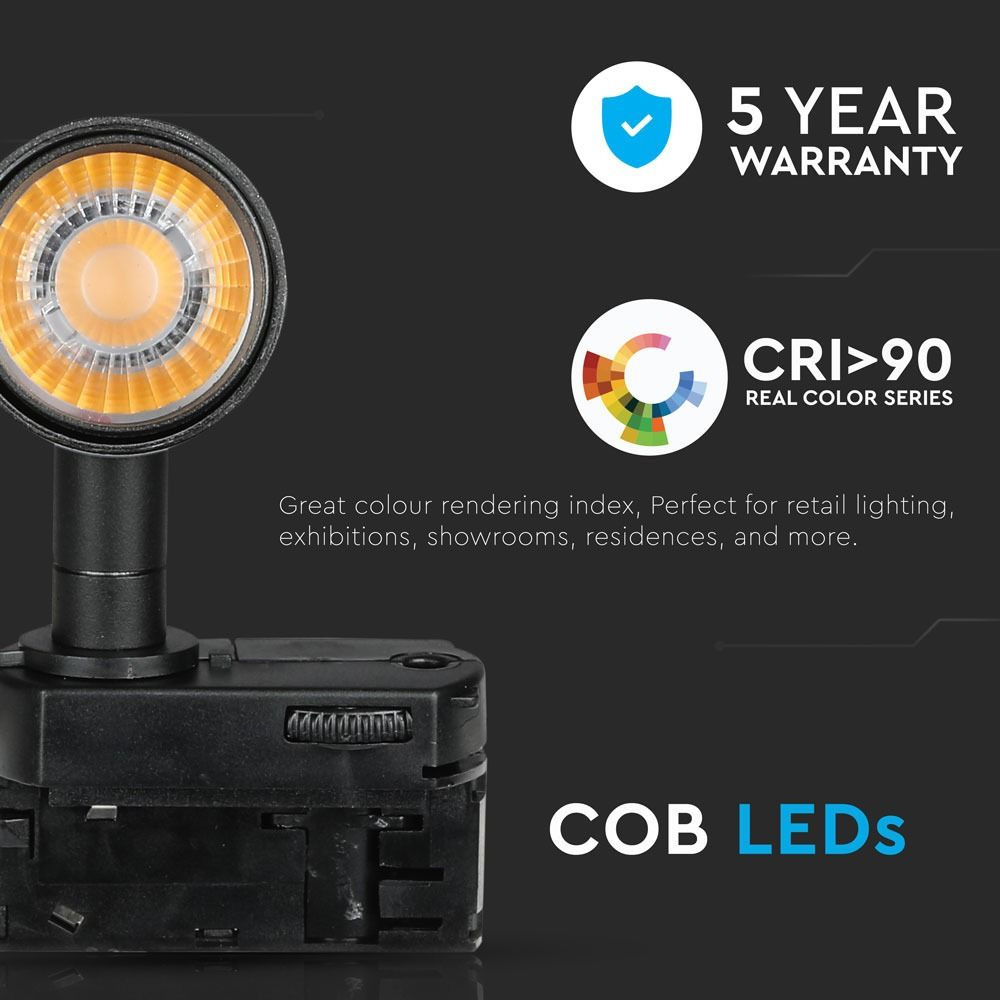 Proiector pe Sina cu LED 15W, Corp Negru, Lumina Calda Cip Samsung
