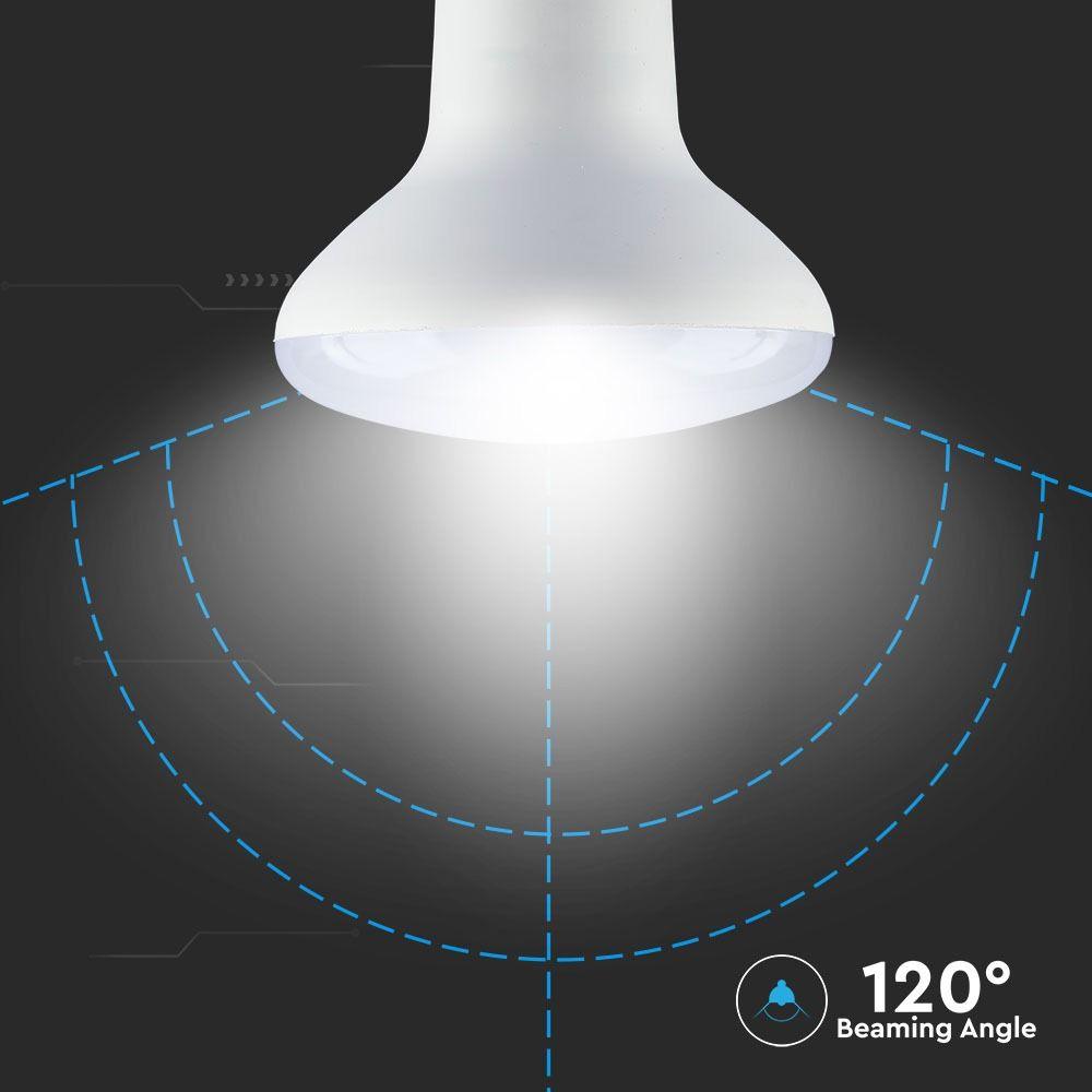 Bec LED 10W, E27, R80, Plastic, Lumina Calda 3000K Cip Samsung