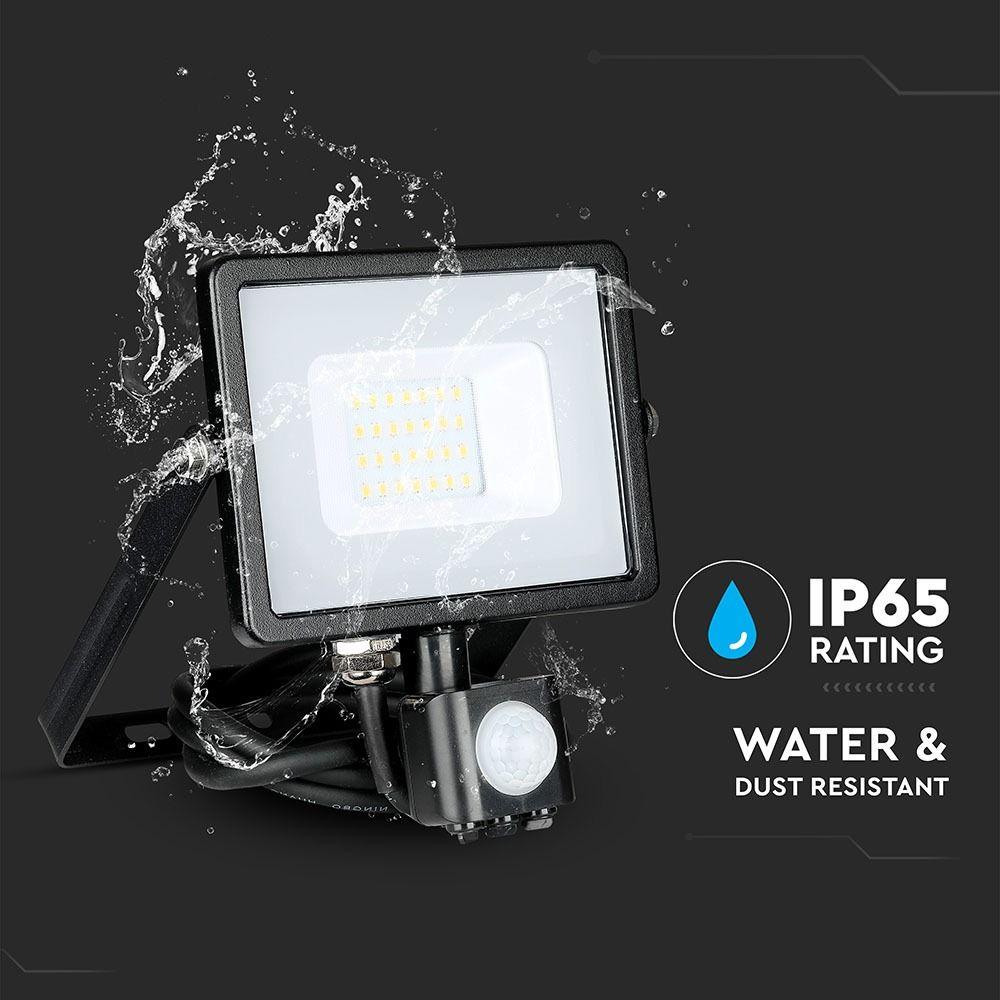 Proiector LED 20W cu Senzor, Corp Negru, Lumina Naturala Cip SAMSUNG cu Functie de Decuplare