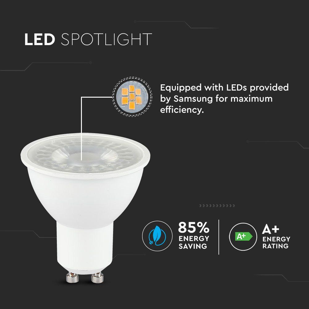 Spot LED GU10, 8W, 38°, Lentila, Lumina Calda 3000K cu CIP SAMSUNG