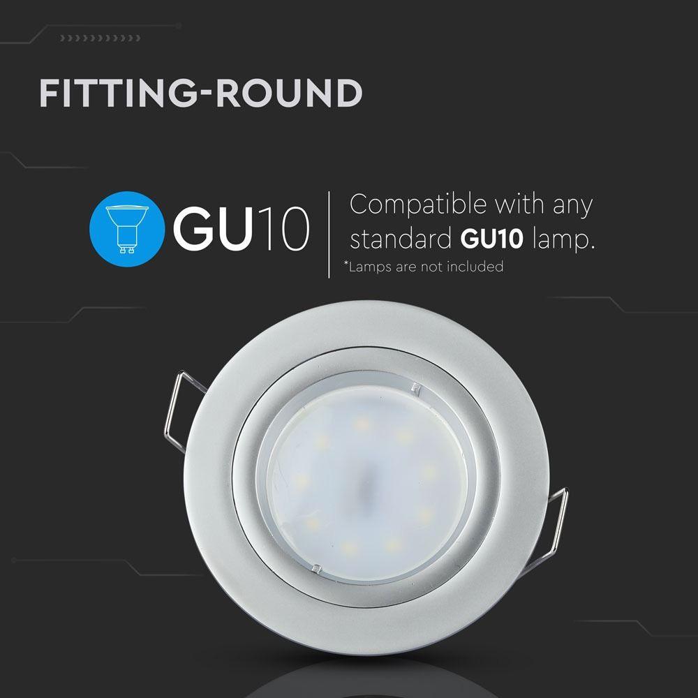 Rama Rotunda pentru Spoturi LED GU10, Gri Argintiu