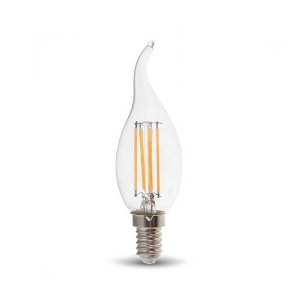 Bec LED Lumanare Filament 4W, E14, Sticla Clara, Lumina Calda 2700K cu CIP SAMSUNG