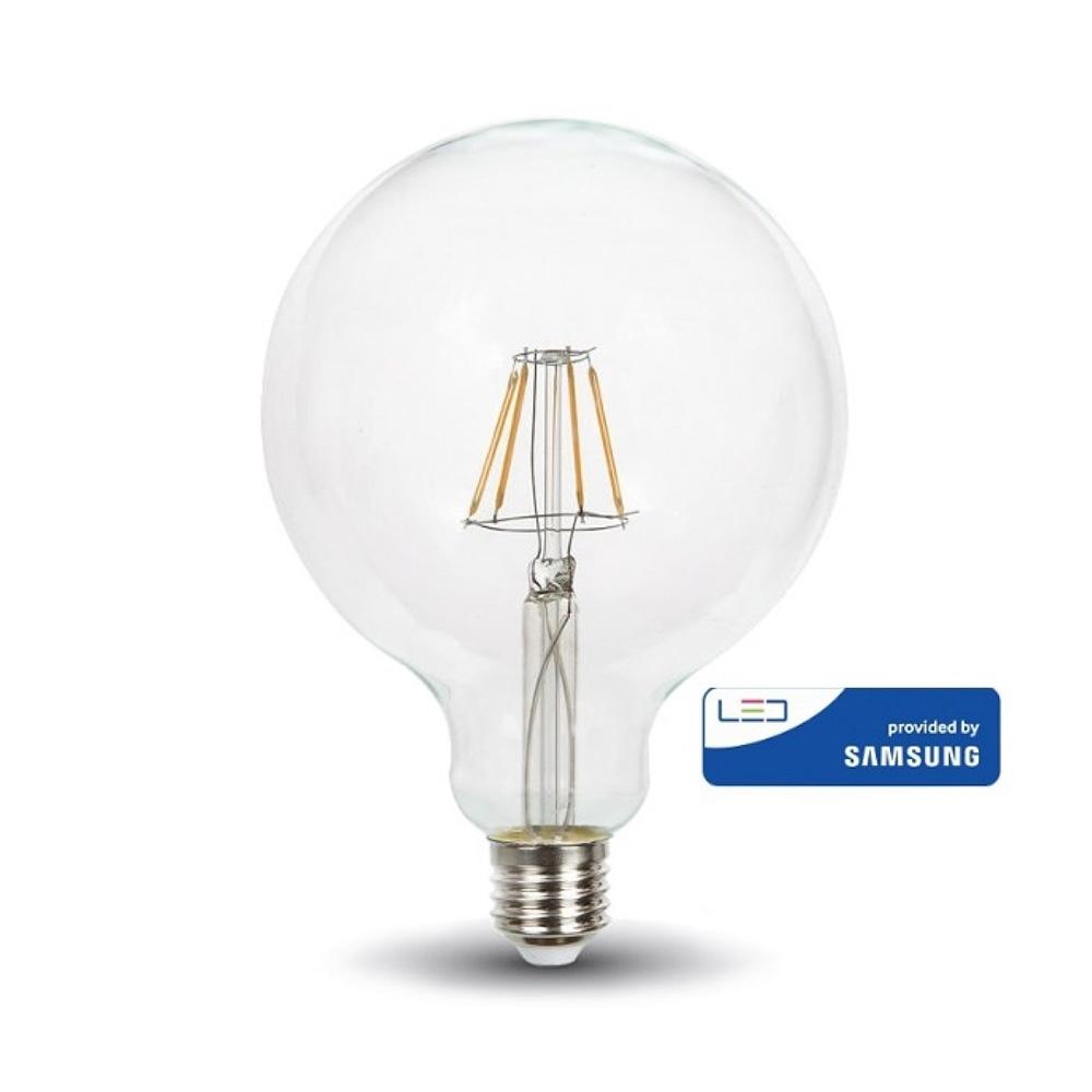 Bec LED Filament 6W, G125, E27, Lumina Calda 2700K cu Cip Samsung