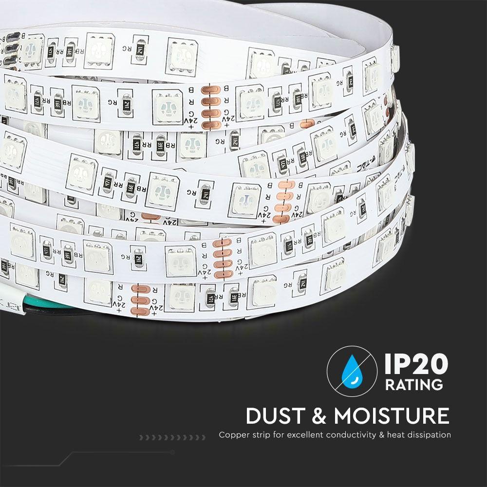 Banda LED RGB 5050, 9 W/m 60LED/M, 24V, 10m/rola