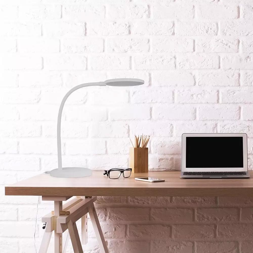 Lampa Birou LED 7W, Dimare Continua, Lumina Calda, Corp Alb