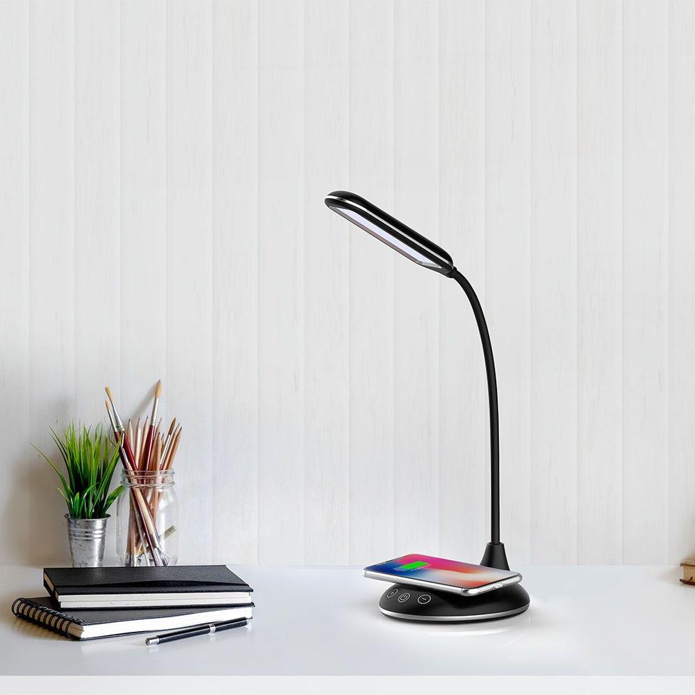 Lampa LED de Birou 5W, Incarcator Wireless, Corp Negru