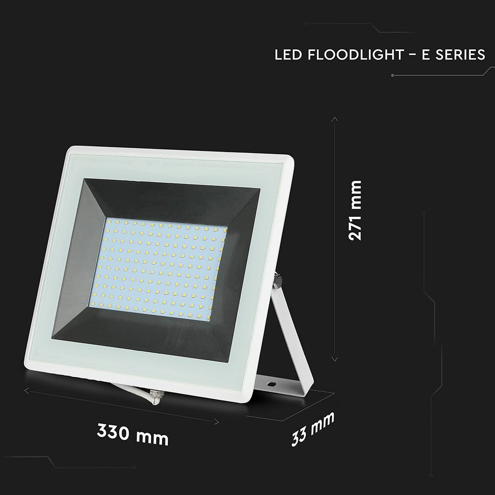 Proiector LED 100W, SMD, Seria-E, Corp Alb, Lumina Calda