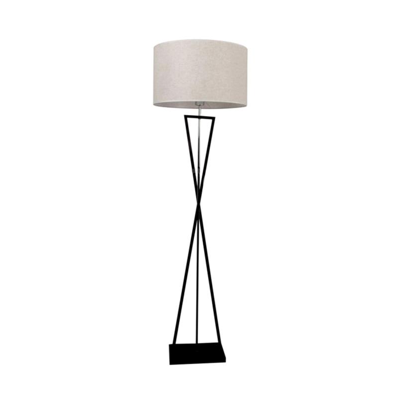 Lampa de podea E27 cu Suport Metalic Negru, Abajur Rotund