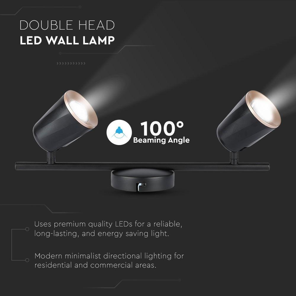 Lampa LED de perete cu 2 Reflectoare 6W, Corp Negru, Lumina Naturala