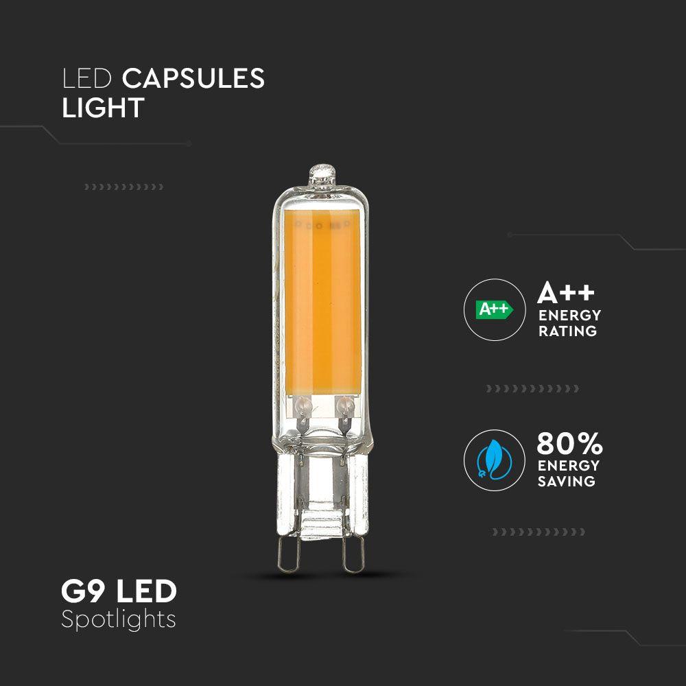 Bec LED 4W, G9, Sticla, Lumina Rece 6400K