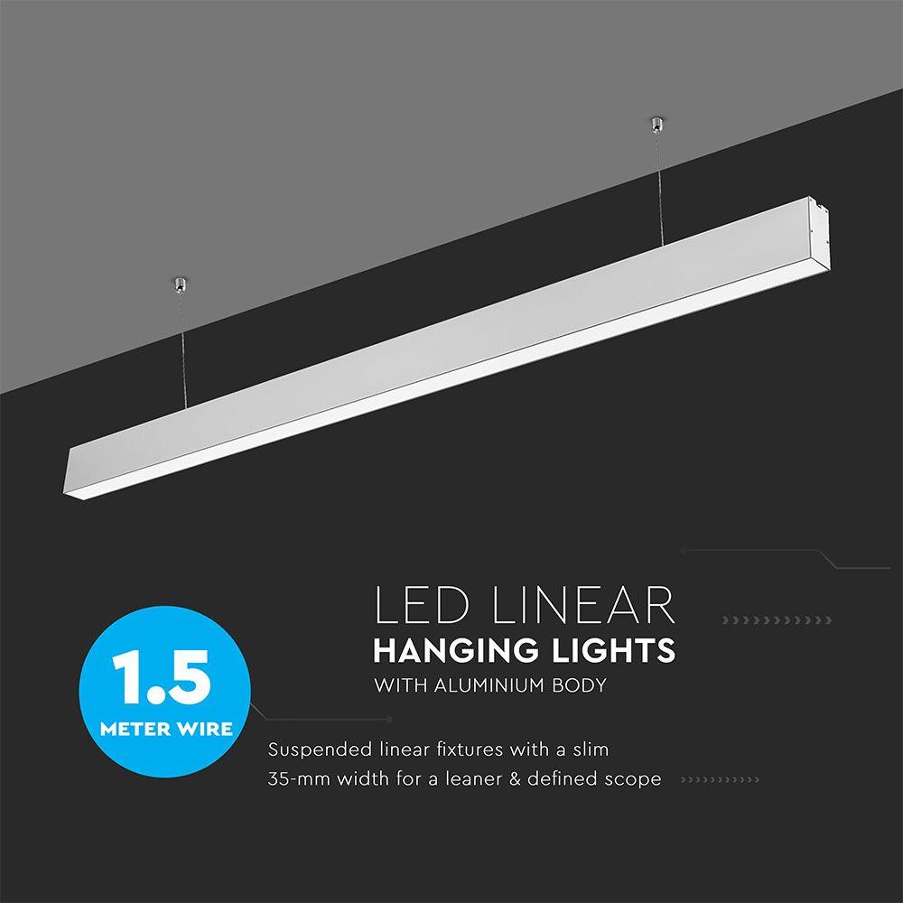 Lampa LED Liniara 40W, Suspendata, Corp Argintiu, Lumina Naturala (4000K) cu CIP SAMSUNG