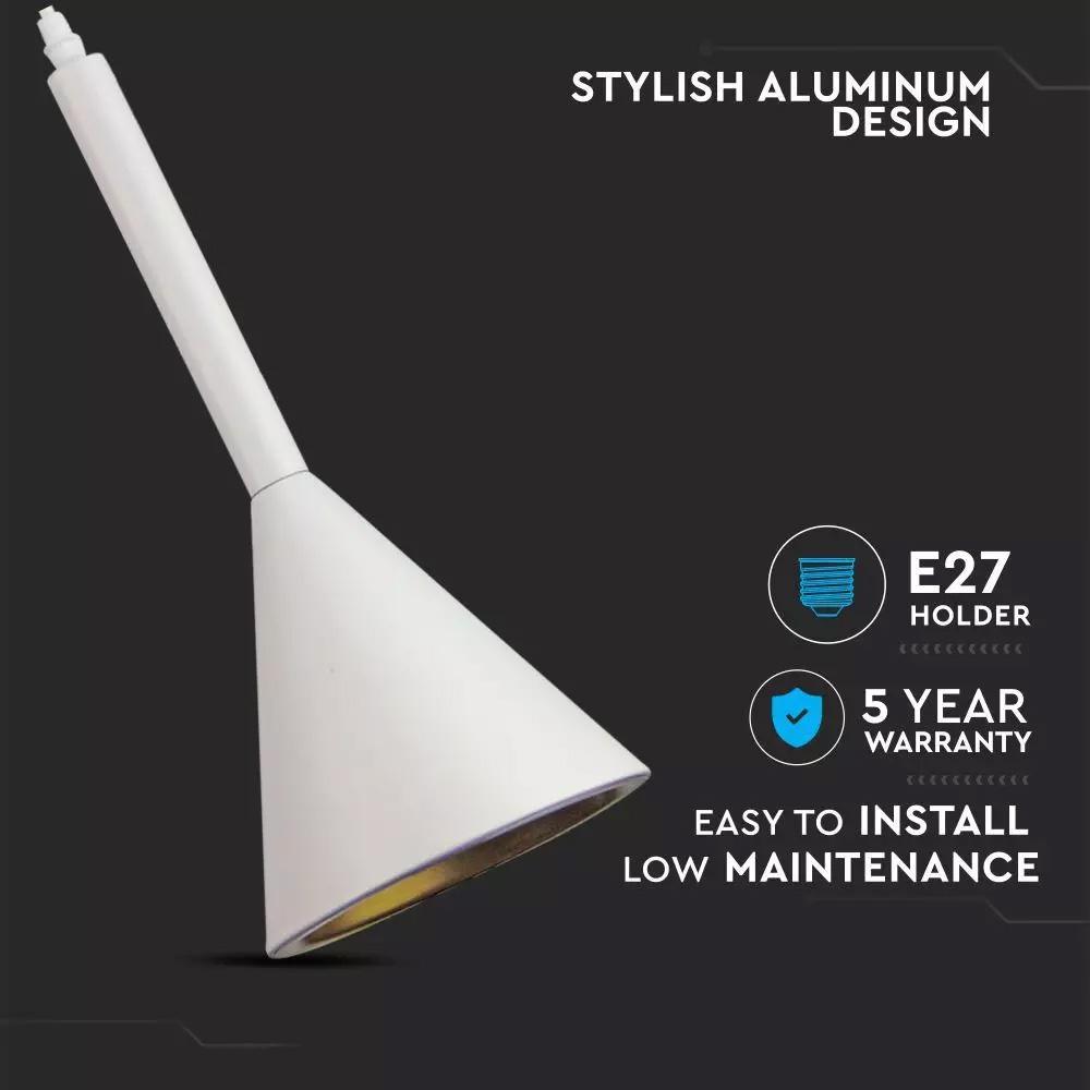 Pendant Modern din Aluminiu, Corp Alb, Ø160 x 350 mm