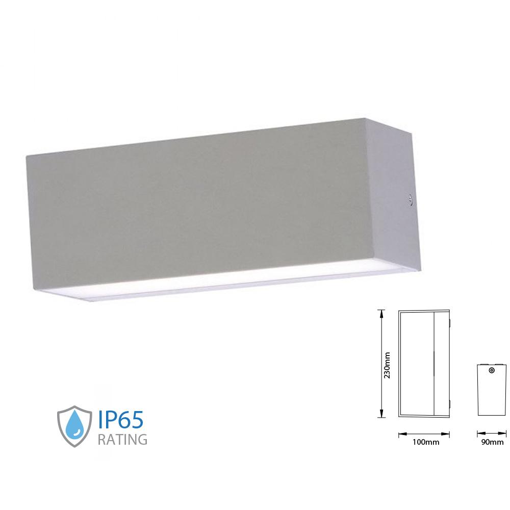 Lampa LED de Exterior Reglabila 12W, Corp Gri, Lumina Rece(6400K) Difuza Sus/Jos IP65