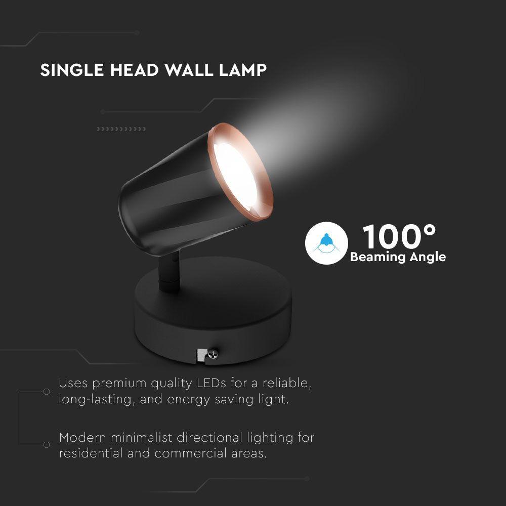 Lampa LED de Perete Orientabila 6W, Lumina Calda, Corp Negru