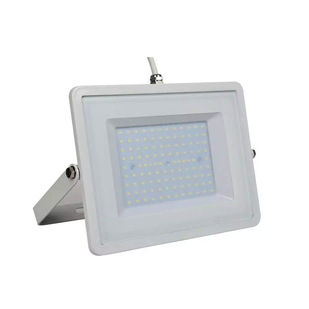 Proiector LED 100W, Corp Alb, Cablu Alb, Lumina Rece