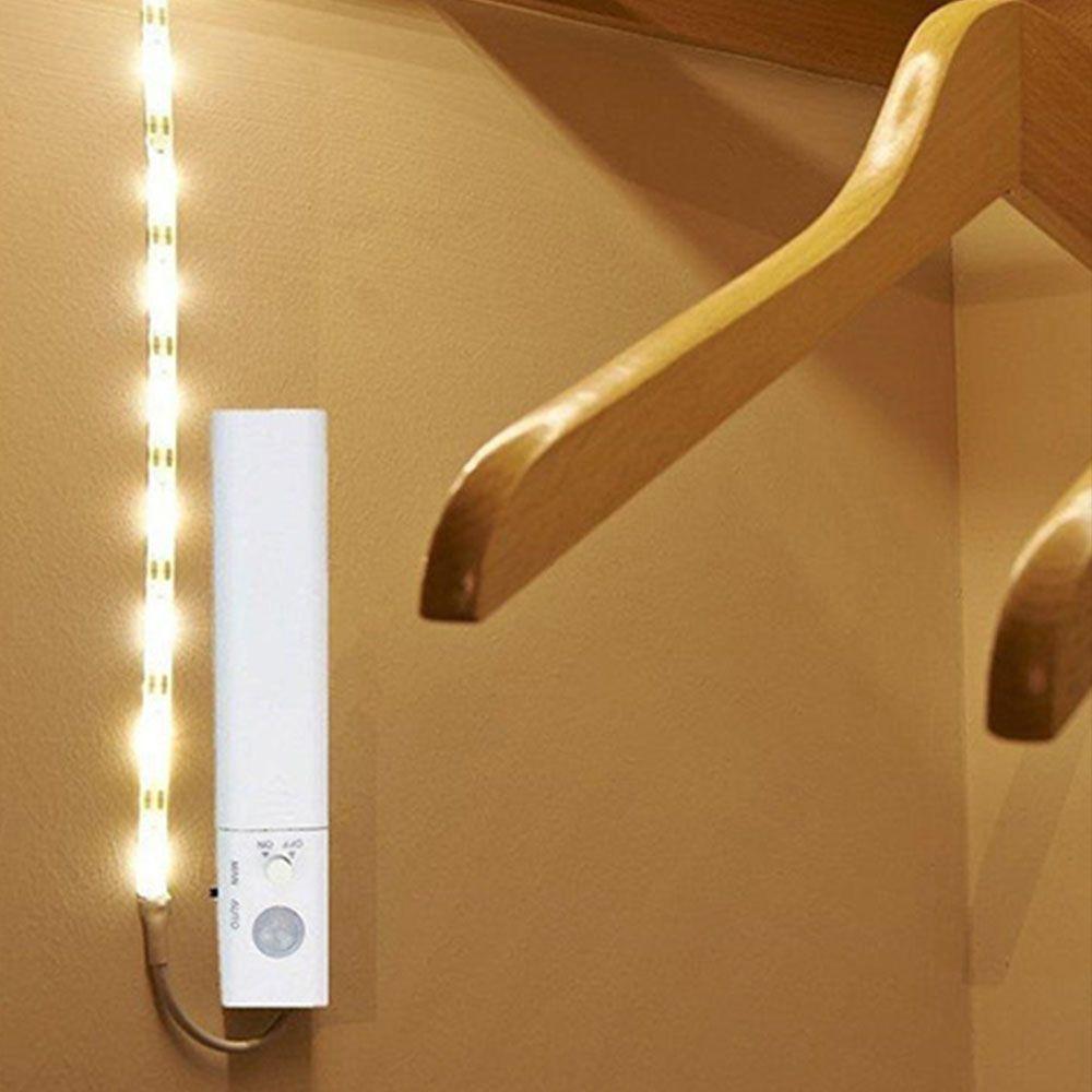 Set Banda LED 1M 2.4W+ Senzor, Lumina Naturala 4000K, 4xBaterii AAA