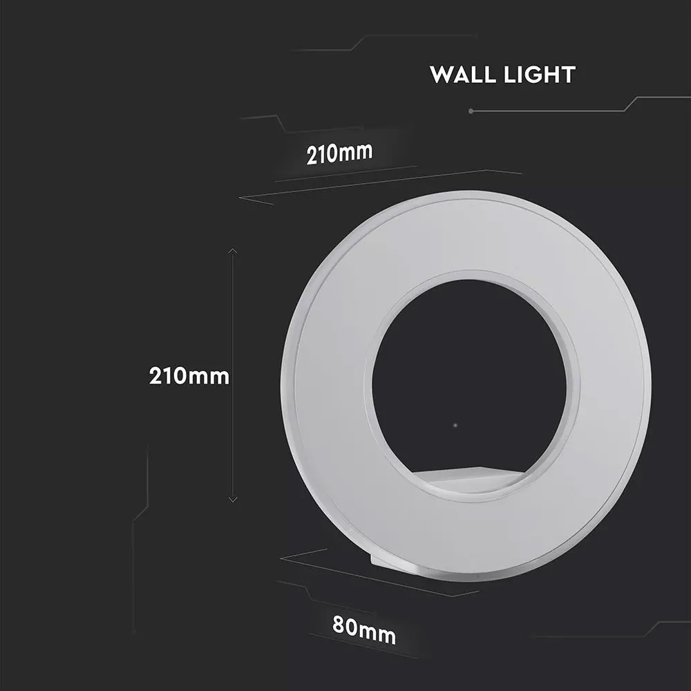 Lampa de perete, 9W, Corp Alb, Lumina Calda