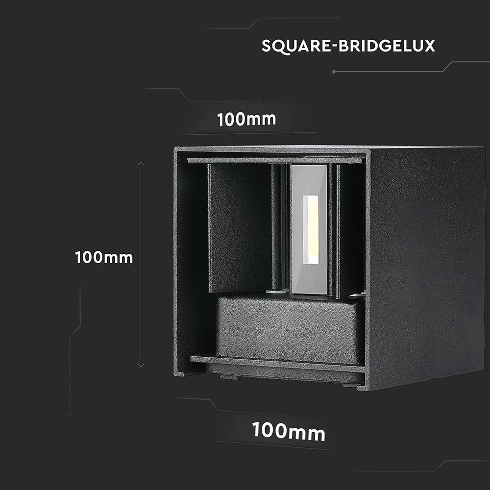 Lampa de perete, 12 W, Neagra cu Cip Bridgelux, Lumina Calda, Patrata