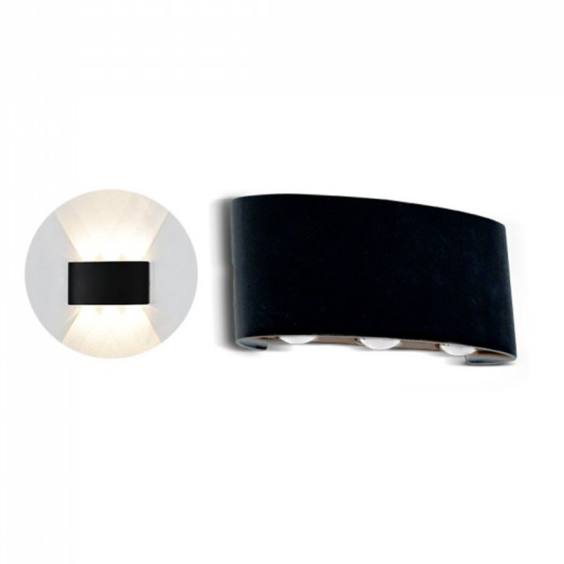 Lampa LED 6W pentru Perete Sus&Jos Nisip, Corp Negru, IP54, Lumina Calda (3000K)