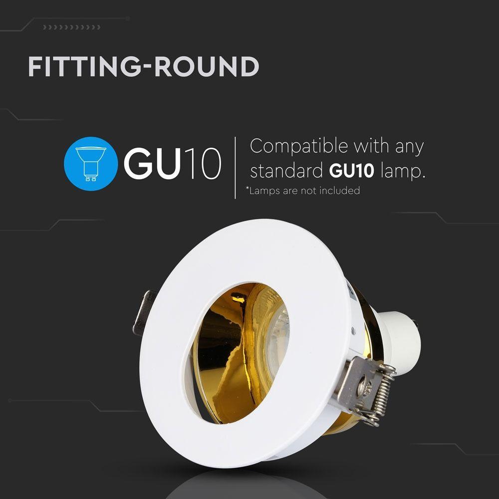 Rama Rotunda GU10, Alb+Auriu