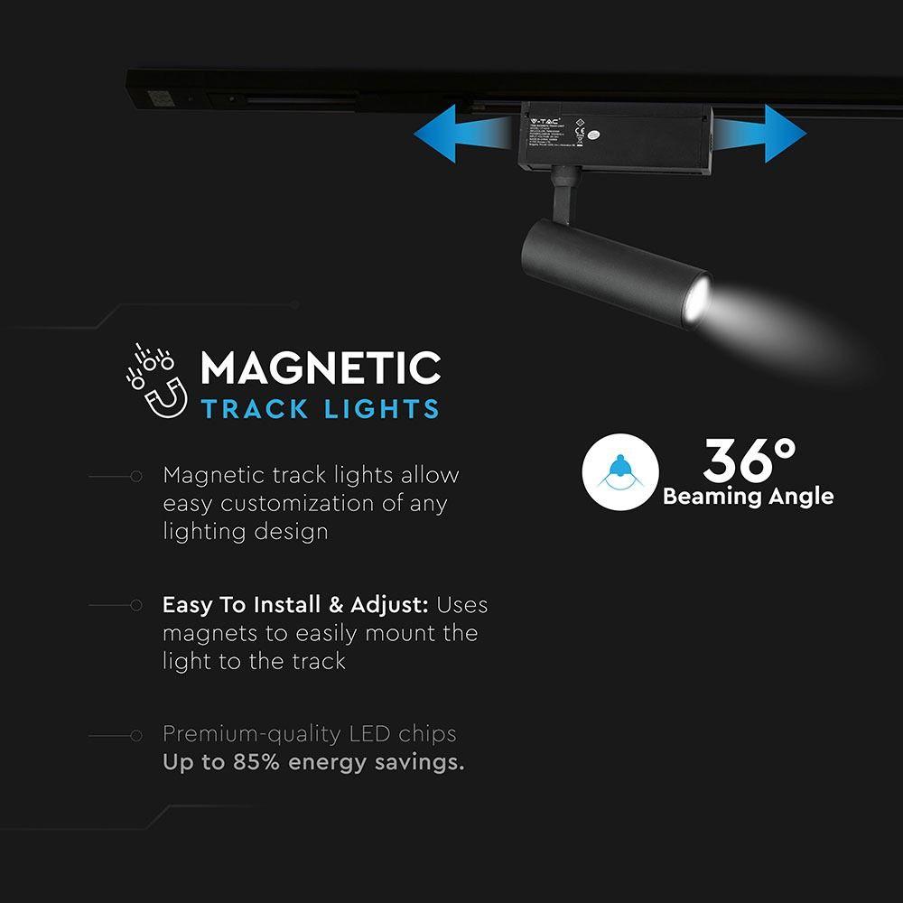 Proiector pe sina LED Magnetic 15W IP20 24V Negru, Lumina Calda