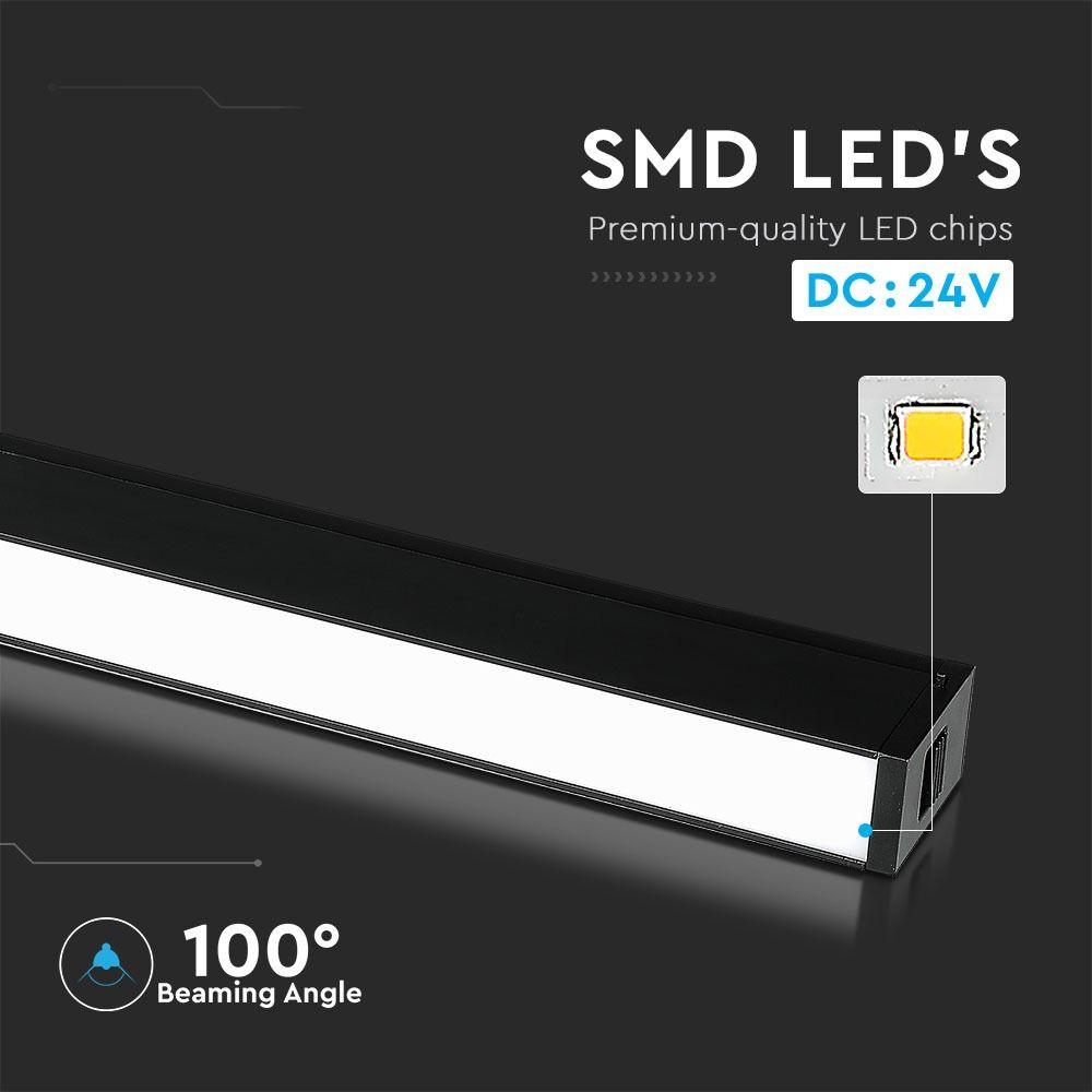 Lampa Magnetica Lineara LED 20W, SMD, Neagra, IP20, 24V, Lumina Calda