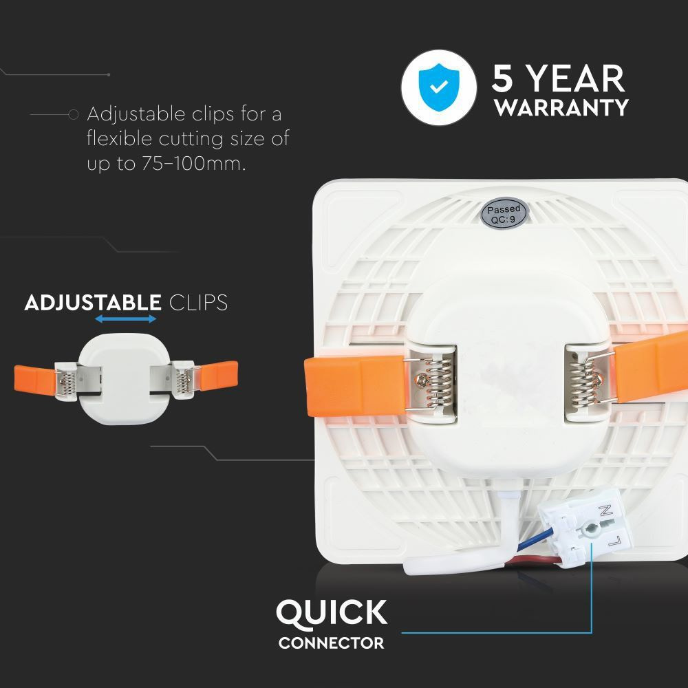 Panou LED Ajustabil 18W, Patrat, Lumina Rece 6400K Cip SAMSUNG