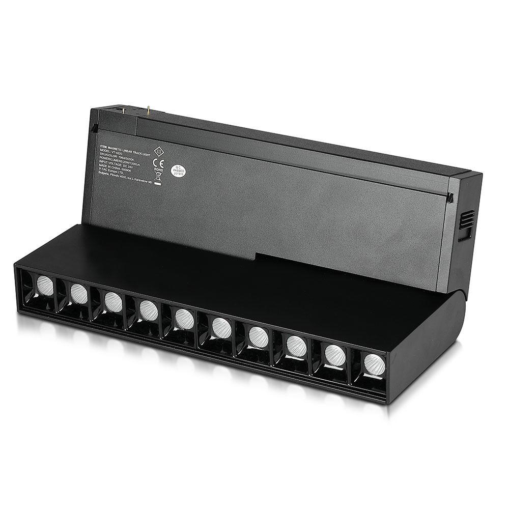 Spot Linear LED 10 x2W, Magnetic, NegrI, P20, 24V, Lumina Calda