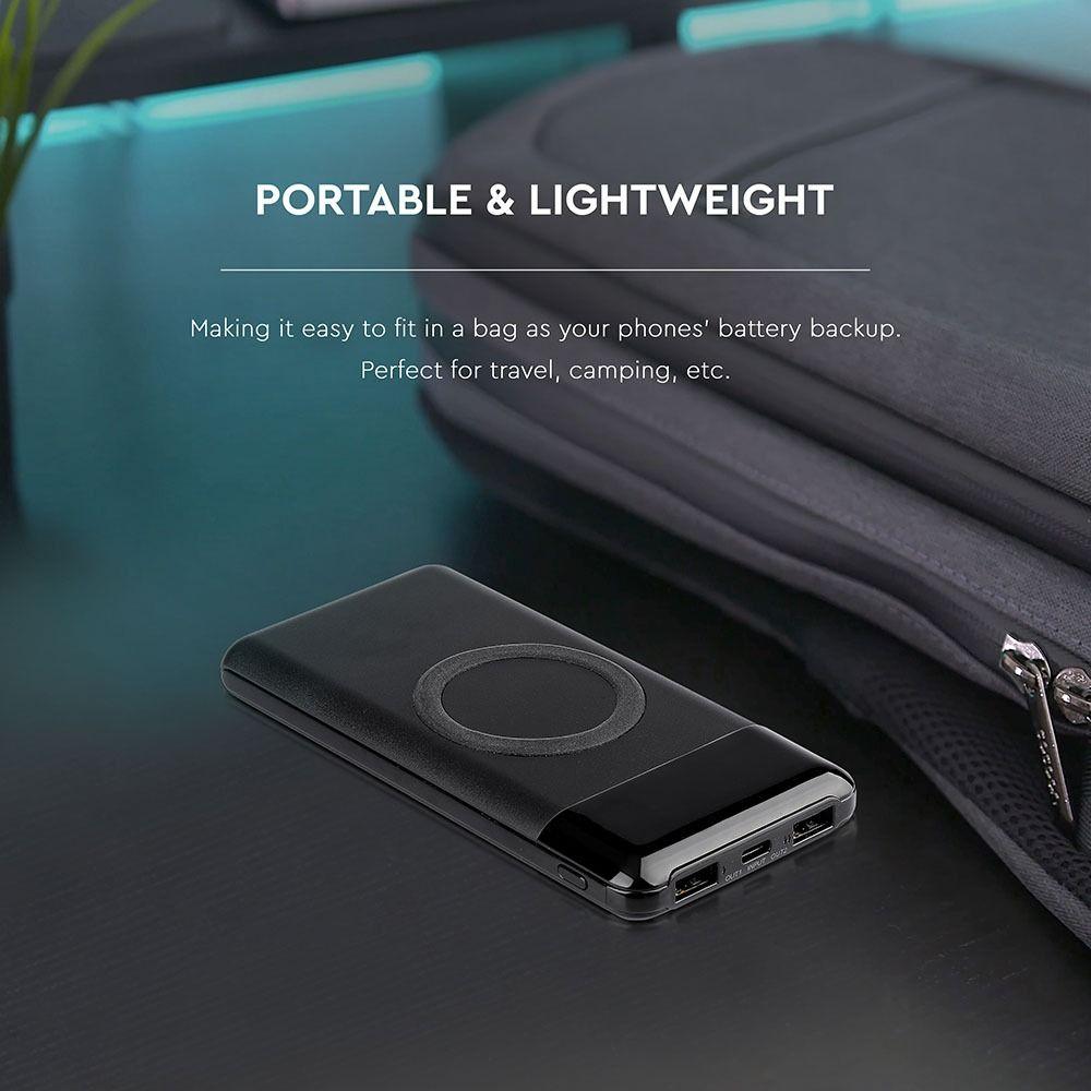 Acumulator Extern Wireless 10000 mAh, Dublu USB+Tip C Afisaj LED Negru