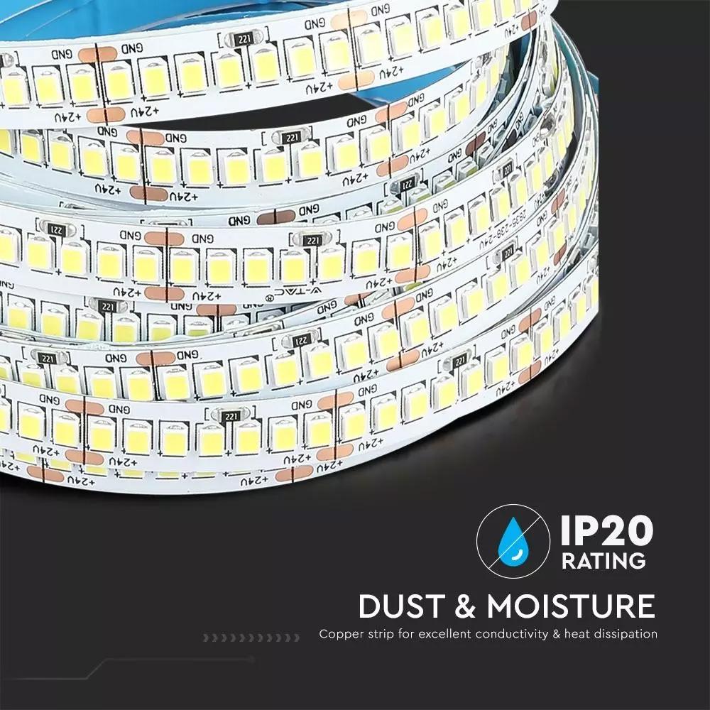 Banda LED SMD2835, 238 LED-uri, 24V, IP20, Lumina Naturala 4000K, 17W/M
