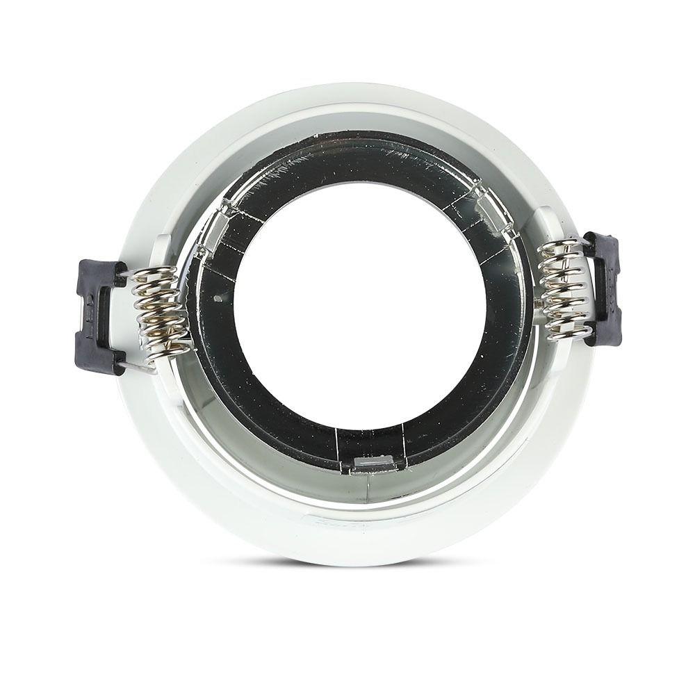 Rama Rotunda pentru Spot GU10, Culoare Alb+Crom, Diametru 72mm