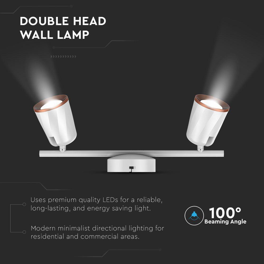 LAMPA DE PERETE LED 12W CU 2 REFLECTOARE, 3000K