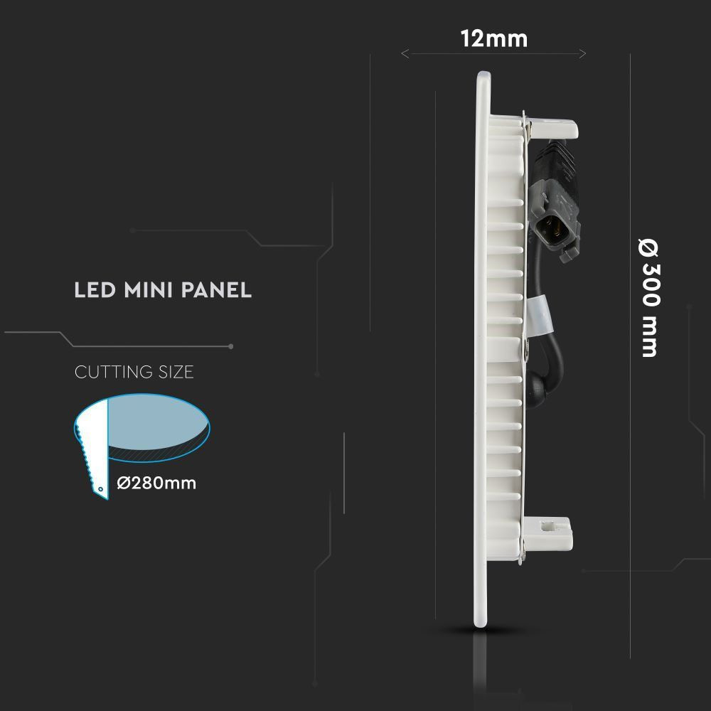 Panou LED Rotund Incastrat 24W, Lumina Calda 3000K Cip Samsung
