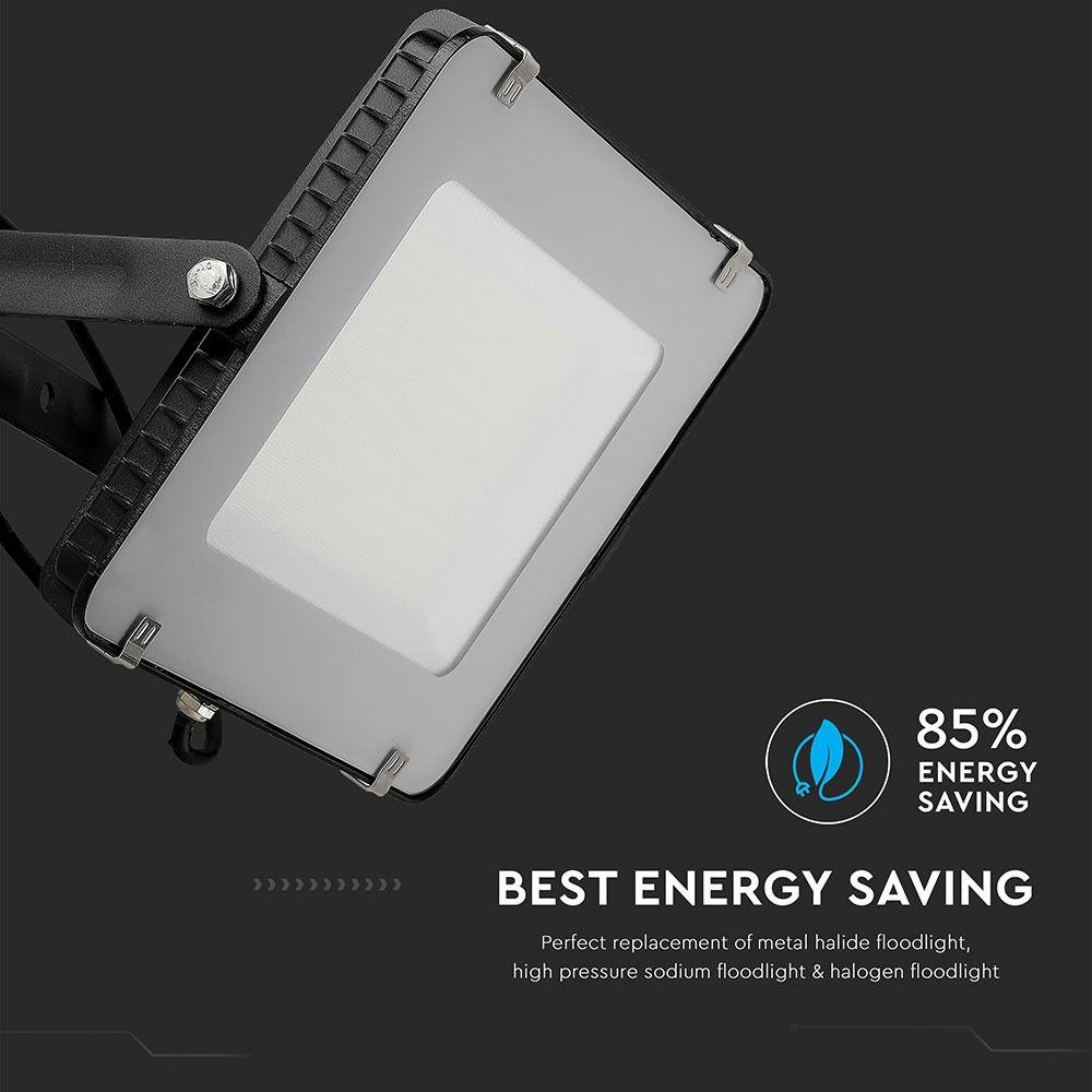 LED Floodlight SMD 150W, SAMSUNG Chip, Slim Black Body 6400K, 120 lm/Watt