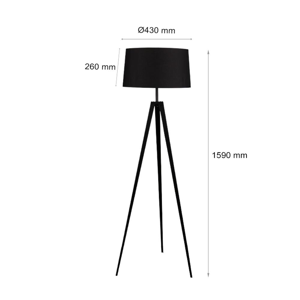 Lampadar, Soclu E27, Corp Negru, 1590x430 mm