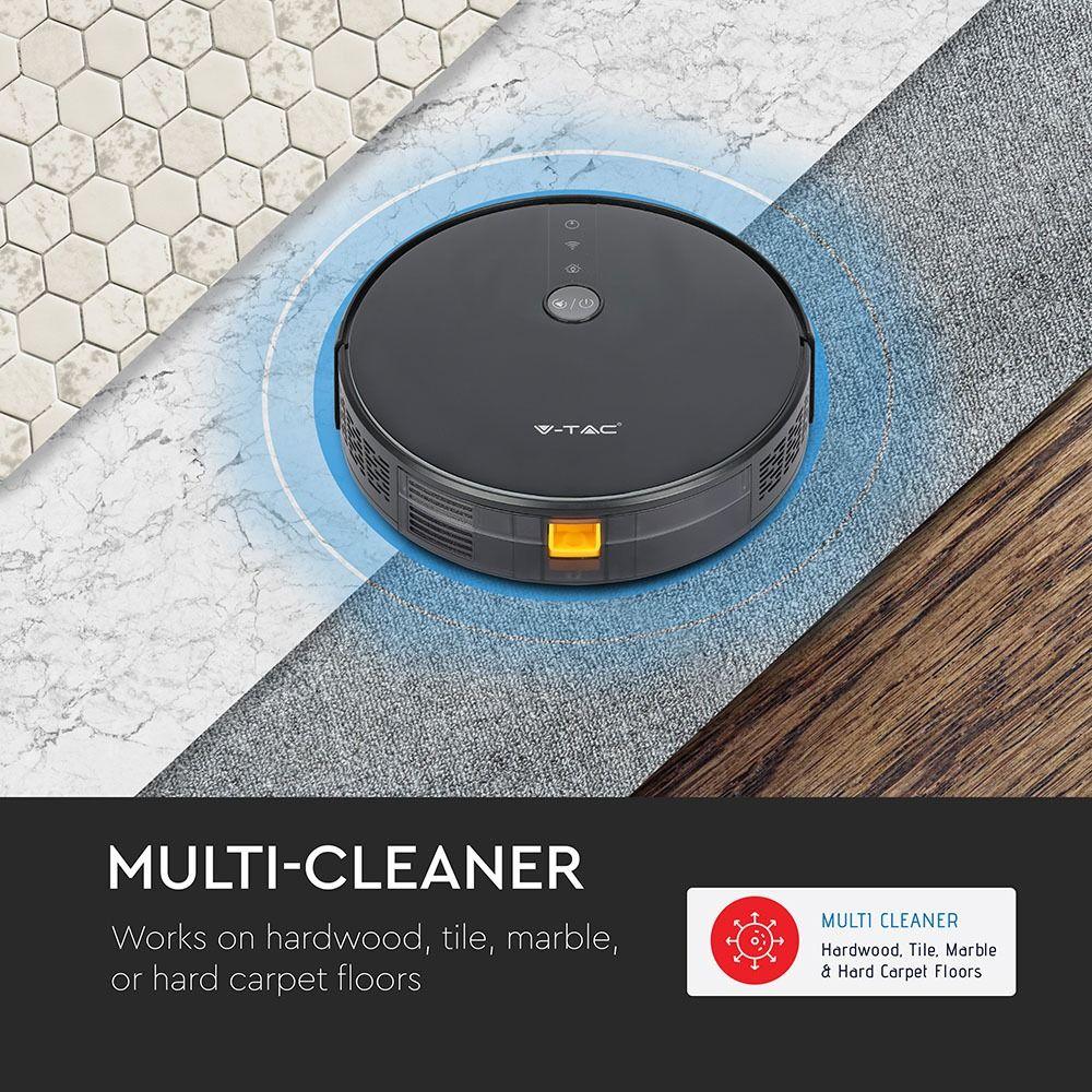 Aspirator Robotic Giroscop Compatibil Amazon Alexa si Google Home Negru