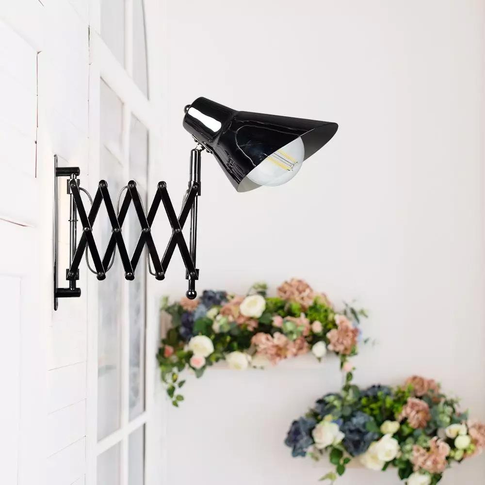 Lampa de Perete cu Braț Ajustabil si Intrerupator, E27, Crom