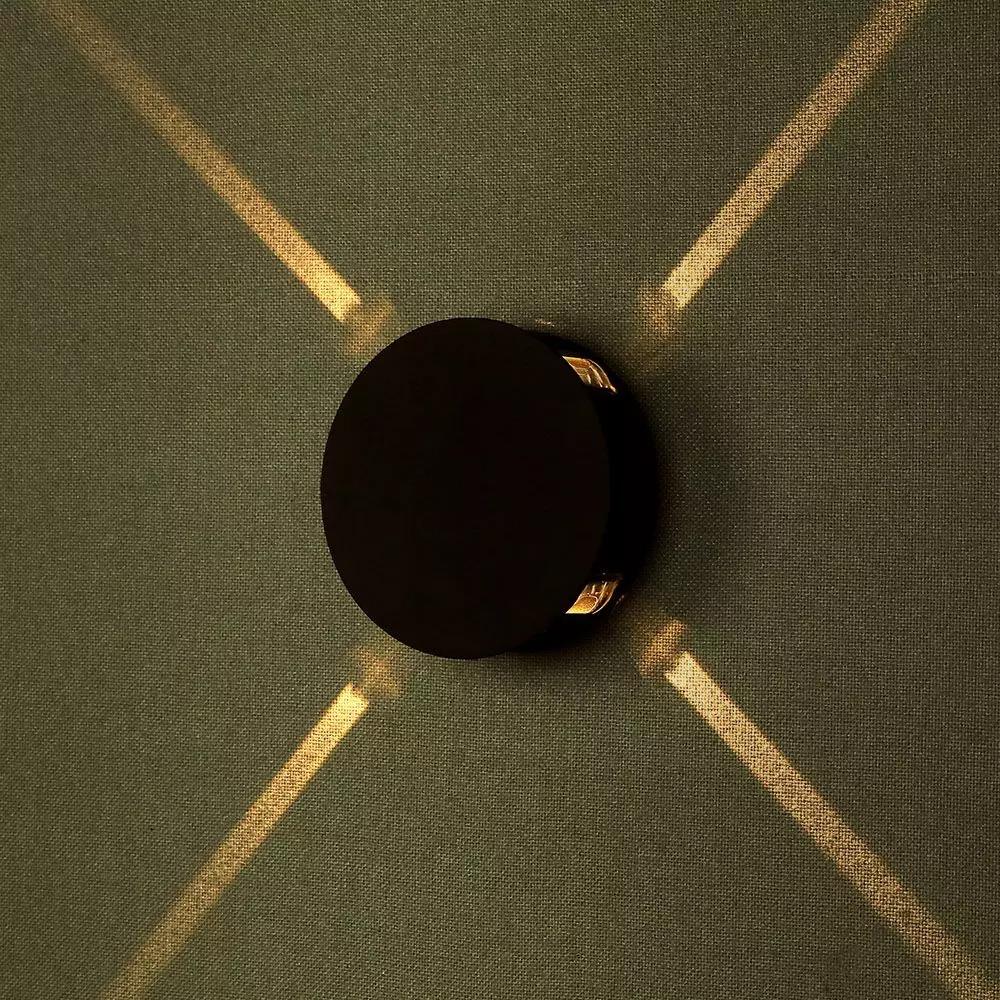 Lampa de perete 4W LED, Corp Negru Rotund, Lumina Naturala (4000K) IP65