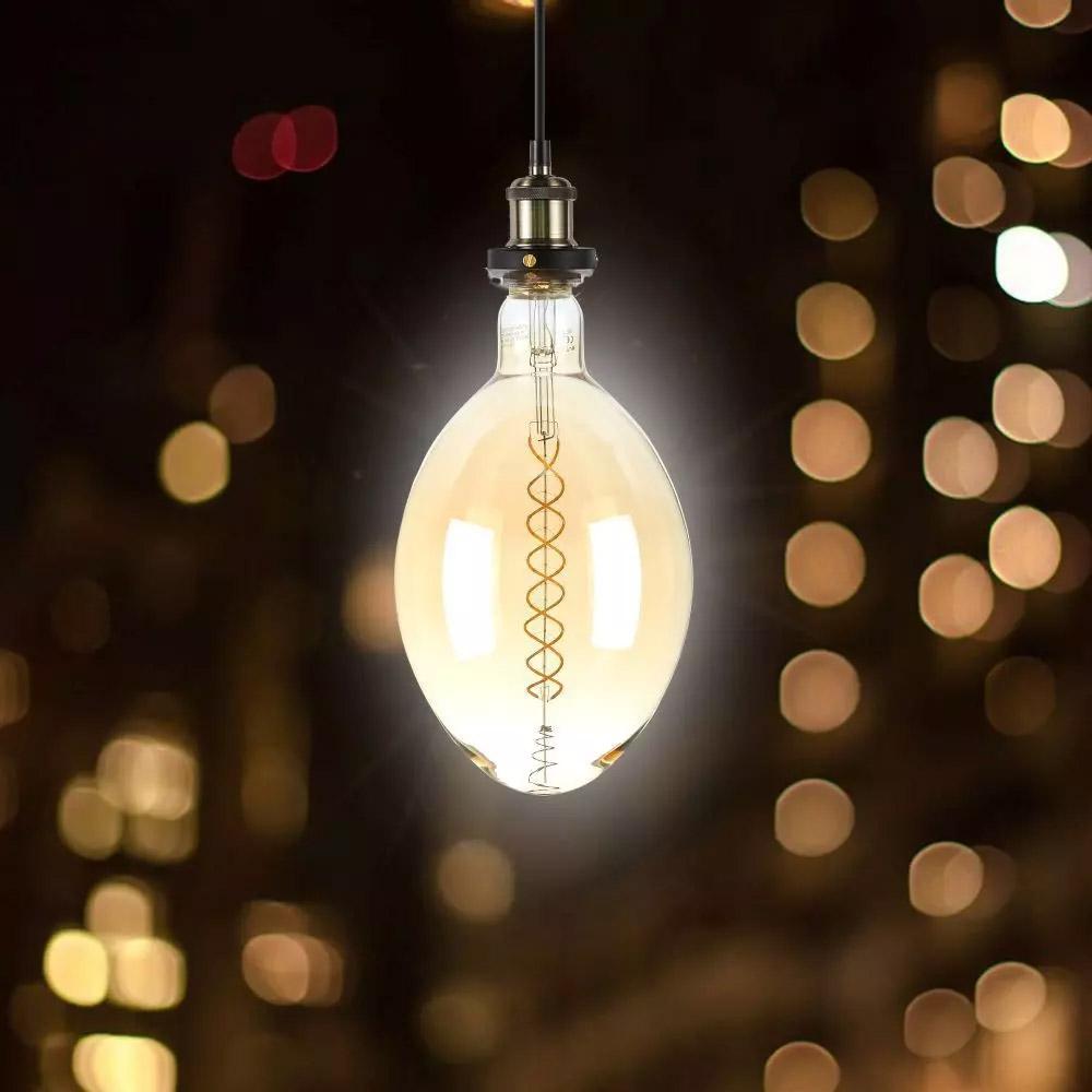 Bec LED 8W, Filament Dublu, E27, BF180, Aspect Chihlimbar Dimabil, 2000K