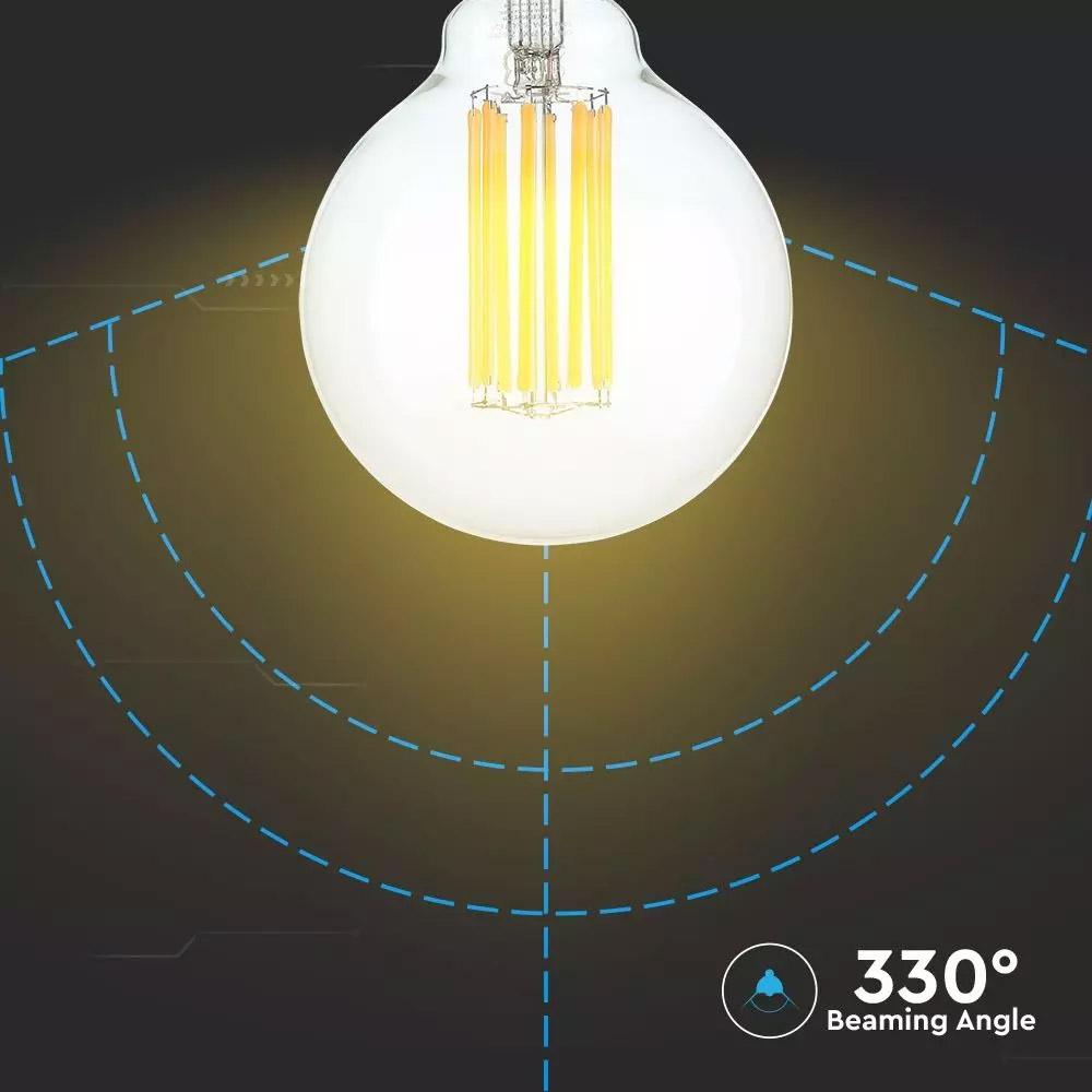 Bec LED 18W, Filament, E27, G95, Sticla Clara, 135 lm/W, Lumina Calda (3000K)