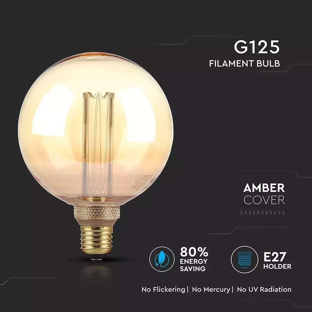 Bec ART LED 4W, Filament, G125, E27, Sticla Aspect Chihlimbar