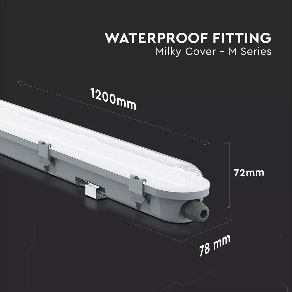 Lampa Liniara Led 36W, Waterproof IP65, Lumina Rece (6400 K), 1200x78x72 mm