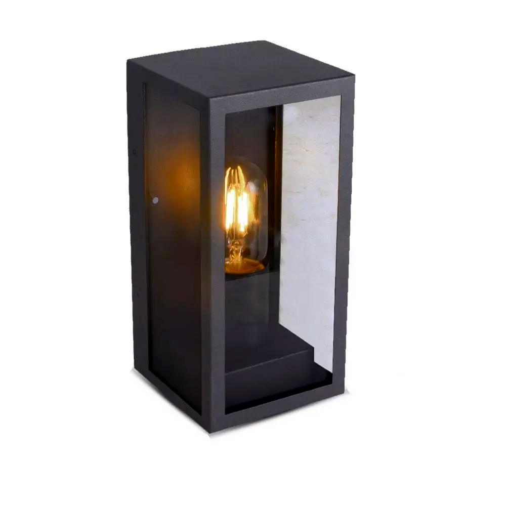 Lampa de perete 1 x E27, Negru Mat, Sticla Clara